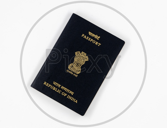 Indian Passport  on an Isolated White Background