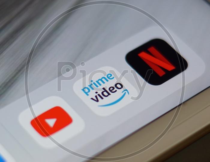 Youtube Netflix Amazon Prime Video applications