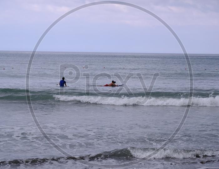 People Surfing in Dulan Beach, Taiwan