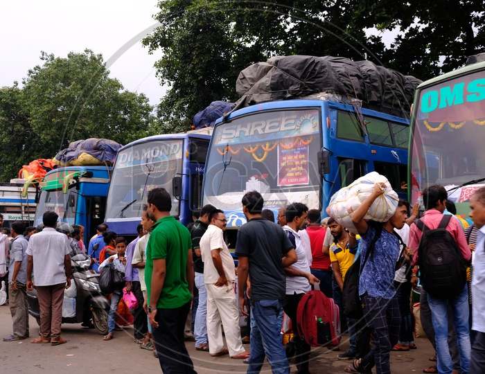 People at a Local Bus Stand in Kolkata