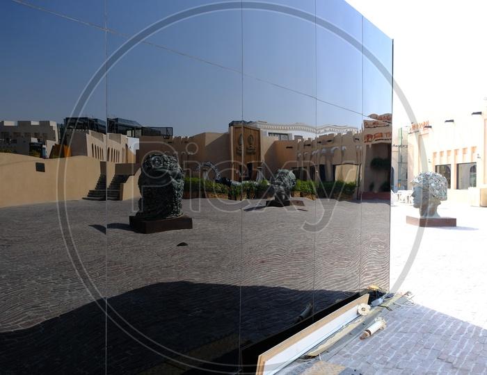 Reflection of Sculptures in Katara Cultural Village