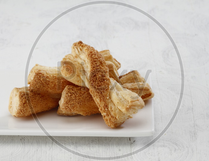Bakery Products on a white platter
