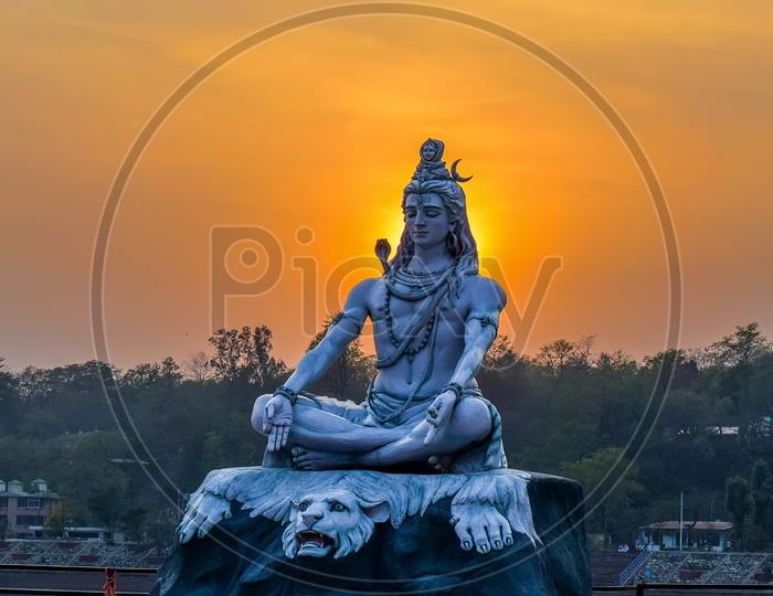 Lord Shiva and the sunrise view from Haridwar Uttarakhand India