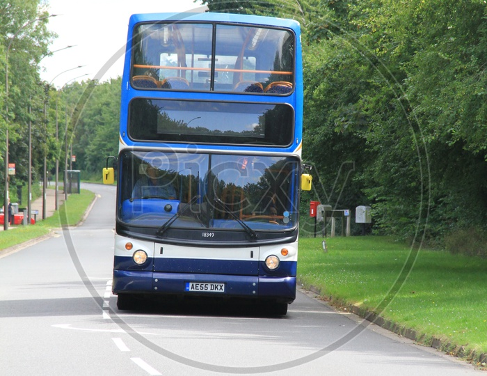 A Double Decker Bus on Road