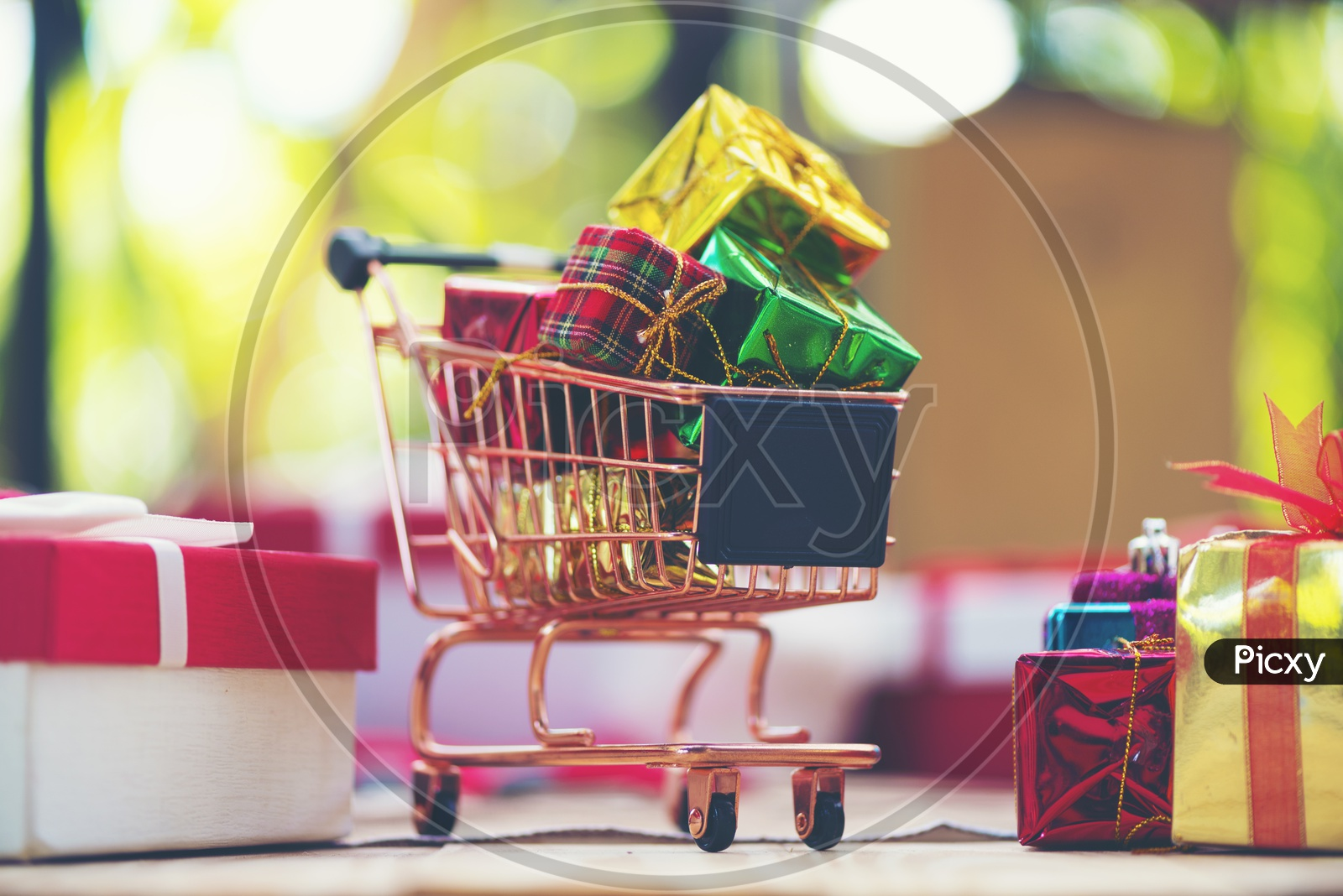 Gifts in a Shopping Cart, Artistic Template For Christmas And New year Greetings