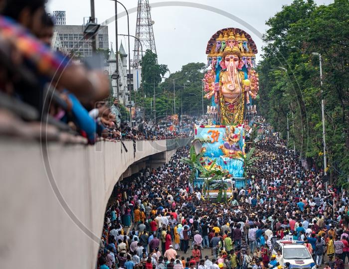 Sri Dwadashaditya Maha Ganapathi also  known as  Khairatabad Bada Ganesh procession before immersing the idol in Hussain Sagar,Hyderabad 2019