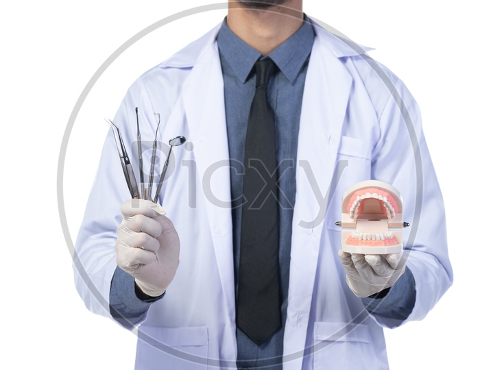 Dental Doctor Or Dentist With Orthodontic equipment