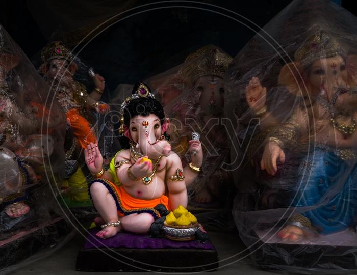 Lord Ganesha's idols for sale at market