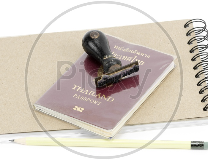 passport pages and immigration stamp , Travel Concept