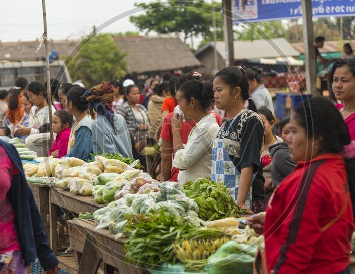 Vegetable stall in Luang Prabang Morning Market, Laos