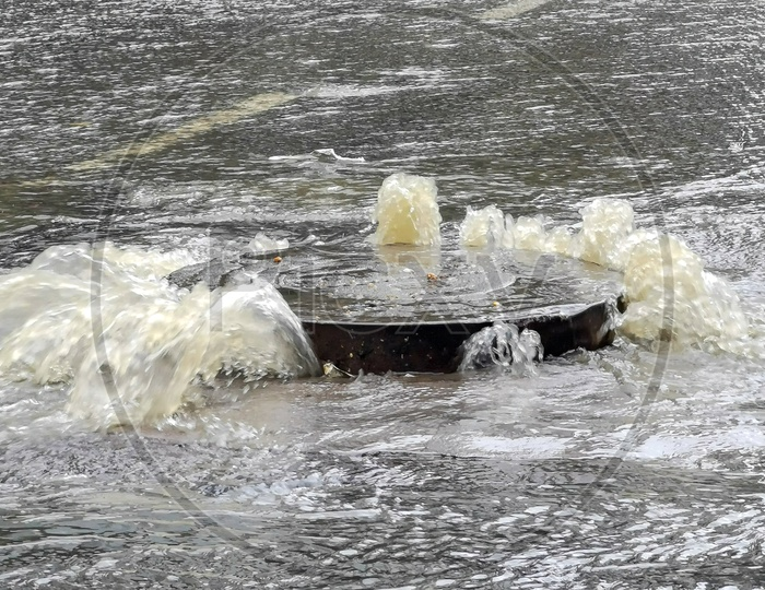 GHMC HMWS  Manhole  Overflow With Drainage Or Sewage Water Due to Heavy Rains Closeup