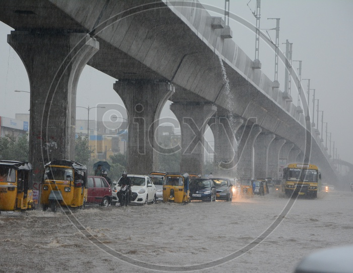 Heavily Flooded Roads of Hyderabad With Commuting Vehicles Due to Heavy Rains