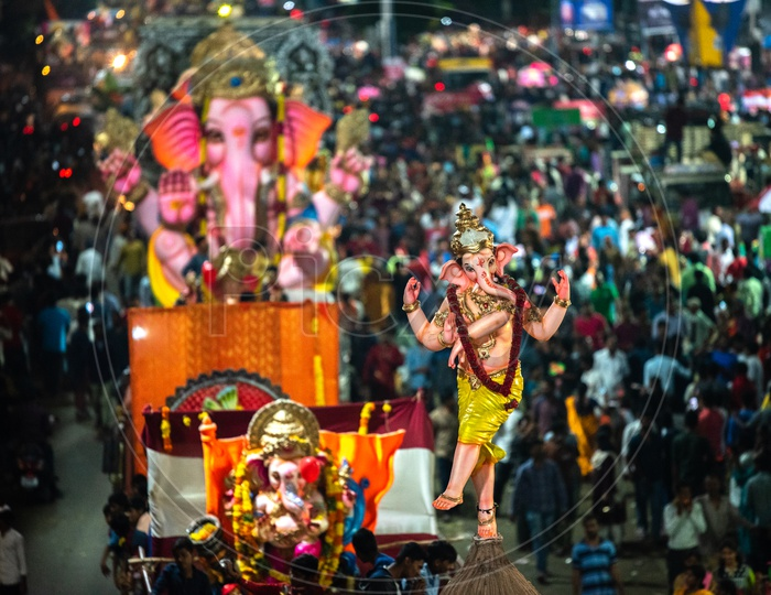 Lord Ganesh Idols in Procession Before Immersion Or Visarjan in Hussain Sagar Lake At Tank Bund In Hyderabad