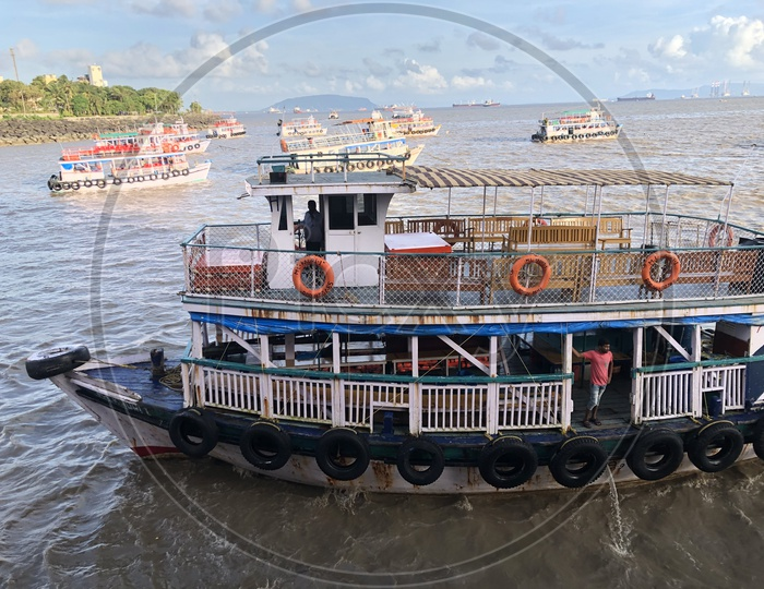 Ferry or motor Boats For Tourists Rides  At Gateway Of India in Mumbai