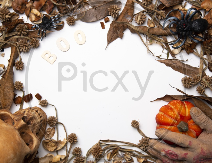 Art background of Halloween with human skull and pumpkin