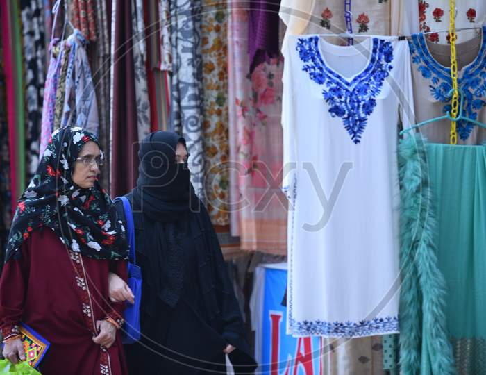People shopping in Kashmiri Shawls  and dresses Stalls at NUMAISH,Nampally