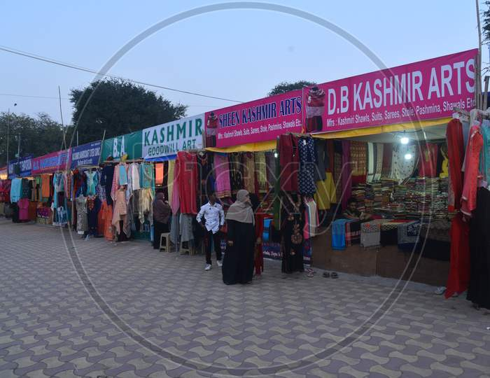 Kashmiri Shawls and Clothes stalls in Numaish Exhibition,Nampally