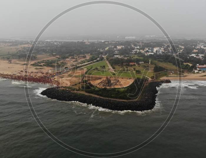 Drone Shot Of Mahabalipuram Beach and Shore Temple