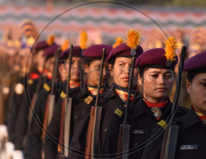Police And Army Woman  Cadets Practicing  Marching For Republic Day Parade In khanapara, Guwahati, Assam