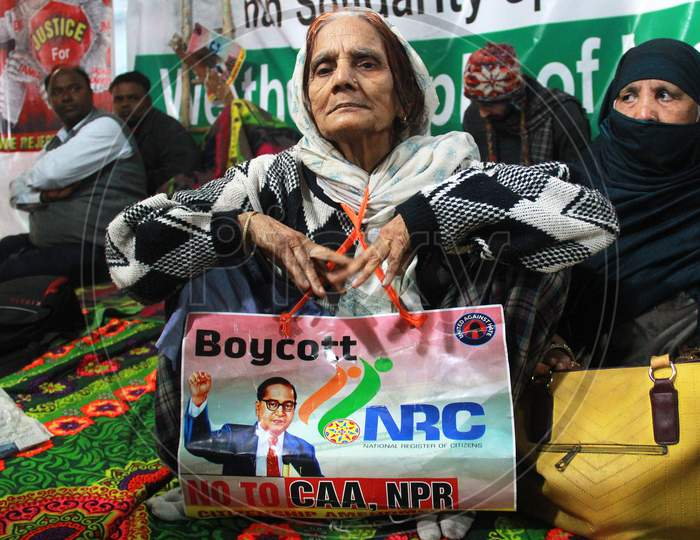 People Take Part In A Sit In Protest Against NRC, CAA And NPR At Khureji Khas In New Delhi
