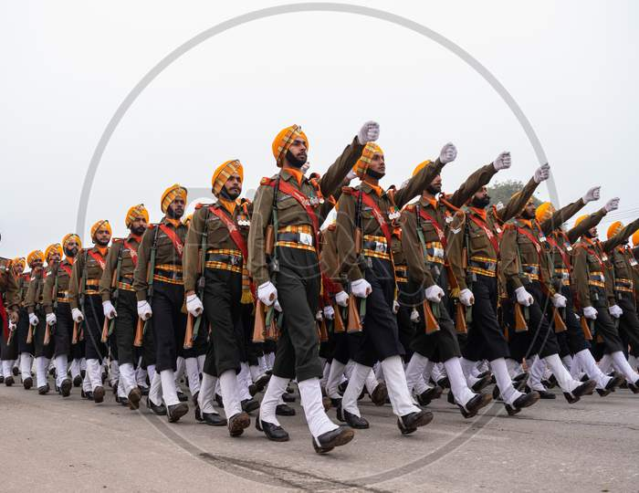 Sikh Light Infantry Soldiers of Indian Army doing parade rehearsals for 71st REPUBLIC DAY 2020
