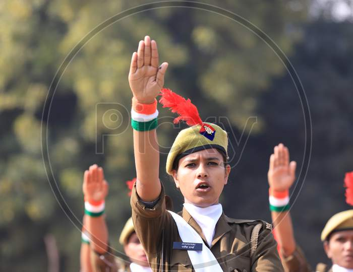 Indian Woman  Police  Participating  In Parade During Republic Day Celebrations