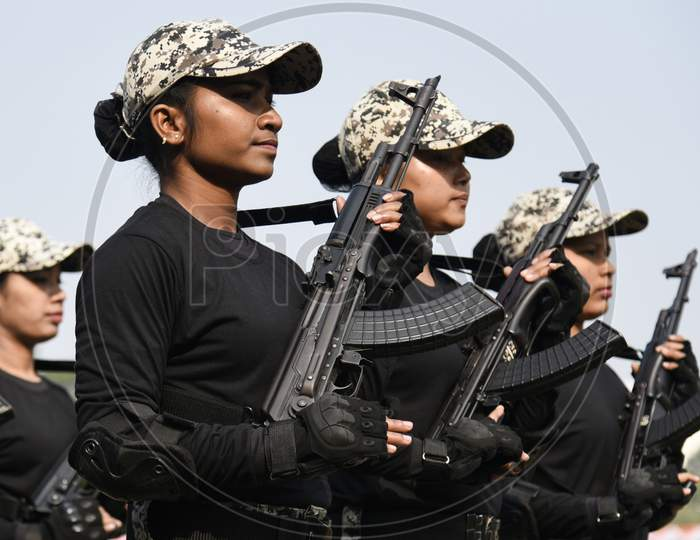 Defence Personnel Participate In The Parade During 71St Republic Day Celebrations, At Veterinary College Playground, Khanapara In Guwahati, Assam, India On 26 Jan. 2020.