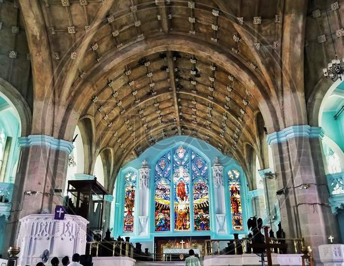 Inside the Medak Church.