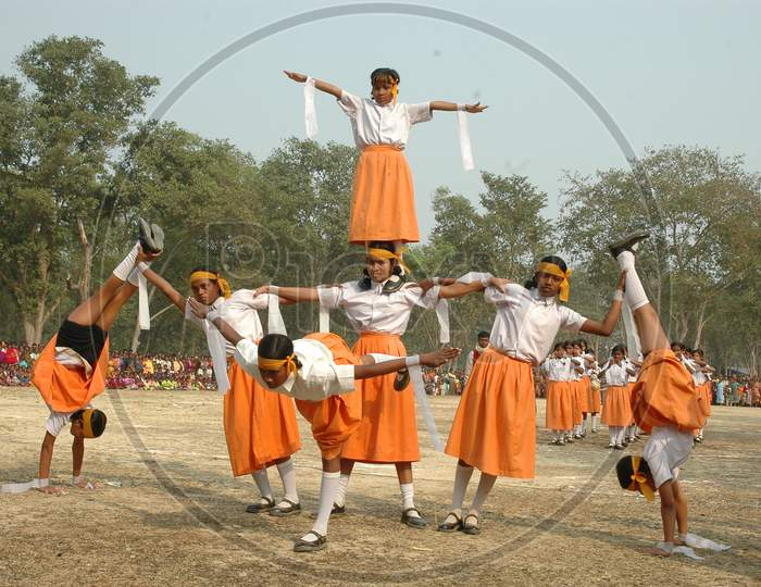 Tribal School Children Performing Dance At an Event Held At a Tribal Village