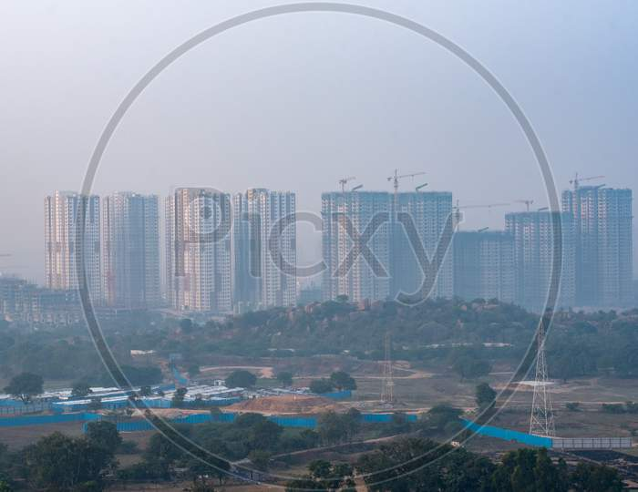 View Of High Rise Under construction  Corporate Buildings From  Khajaguda Hill