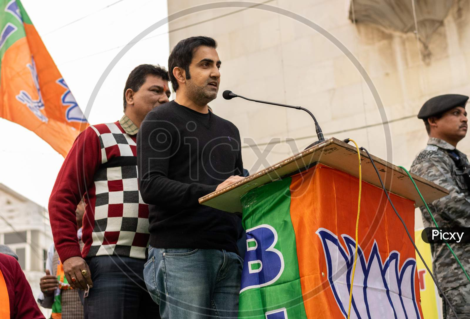 Gautam Gambhir, Former Cricketer and Member of Honourable Parliament, campaigning for Delhi Assembly Election 2020
