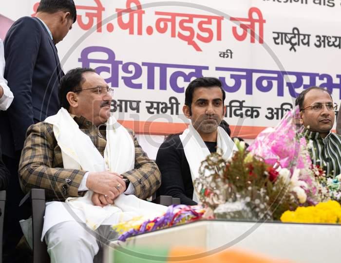 Jagat Prakash Nadda, National President of Bharatiya Janata Party BJP and Member of Parliament Rajya Sabha, and Gautam Gambhir, Former Cricketer and Member of Honourable Parliament, campaigning for Delhi Assembly Election 2020