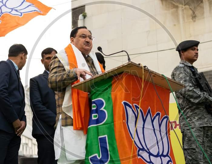 Jagat Prakash Nadda, National President of Bharatiya Janata Party BJP and Member of Parliament Rajya Sabha, campaigning for Delhi Assembly Election 2020