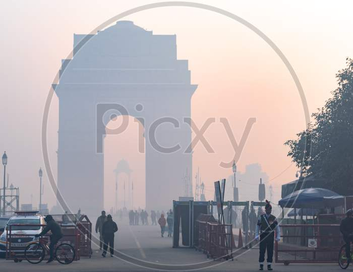 India Gate in the foggy morning during winters in Delhi