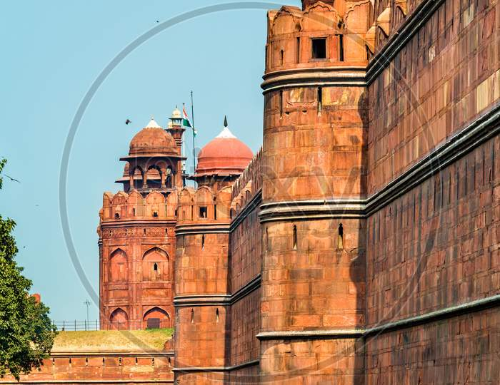 Defensive Wall Of Red Fort In Delhi, India