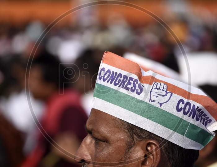 Anti-Caa Protest. , Congress Supporters During A Caa Protest Public Rally By Former President Of India'S Congress Party Rahul Gandhi, In Guwahati