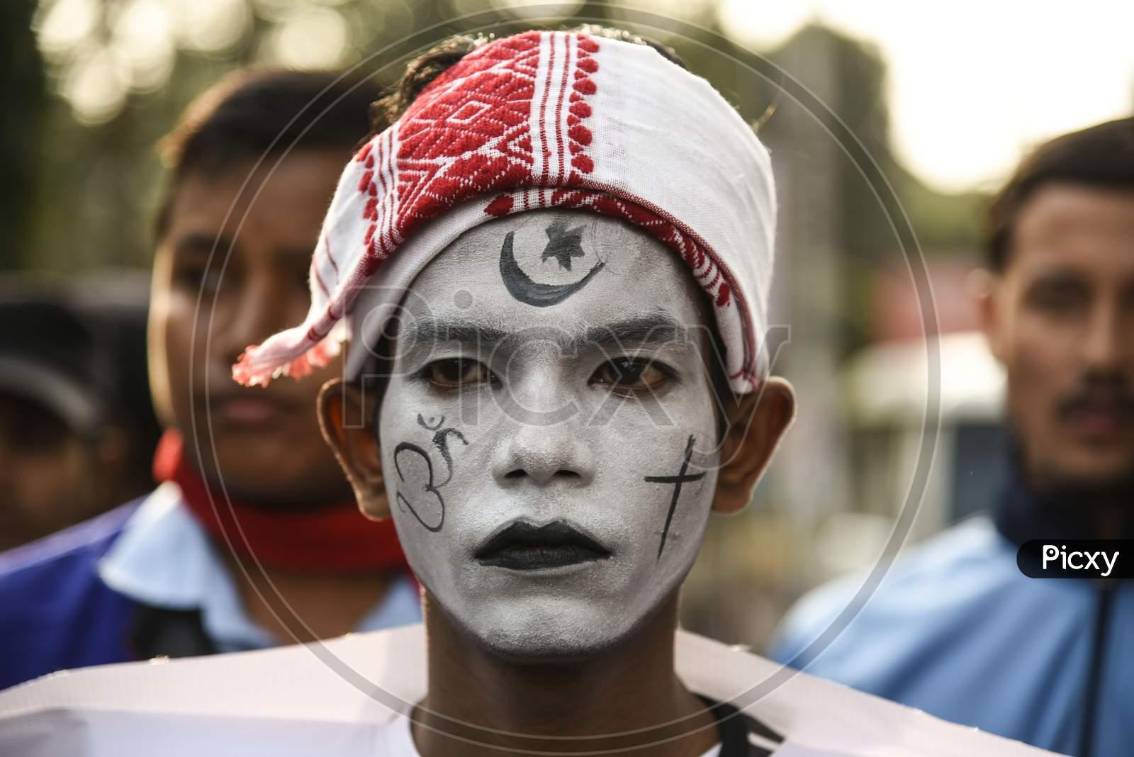 A Protester In An Getup Against Caa And Cab Amendment Bill In Guwahati, Assam