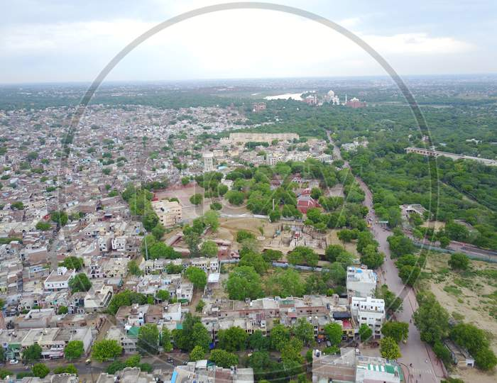 Aerial View of Agra City