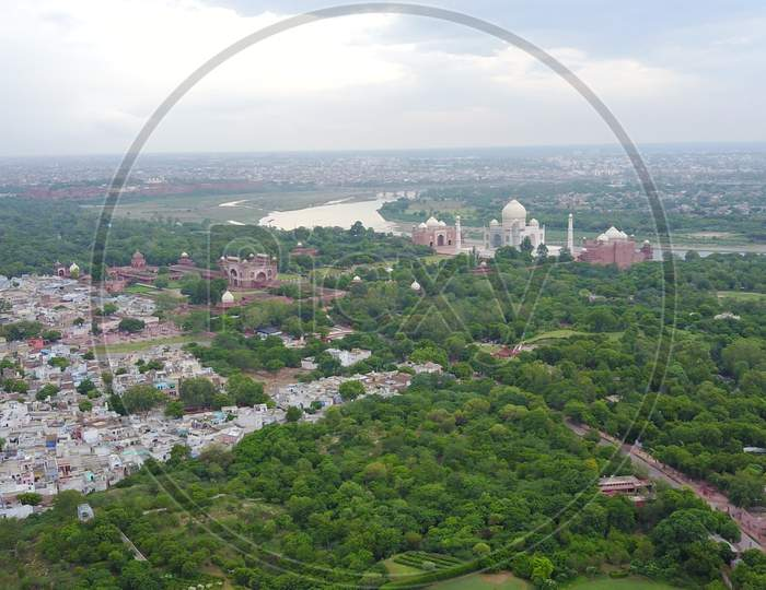 Aerial View of Agra City and Taj Mahal