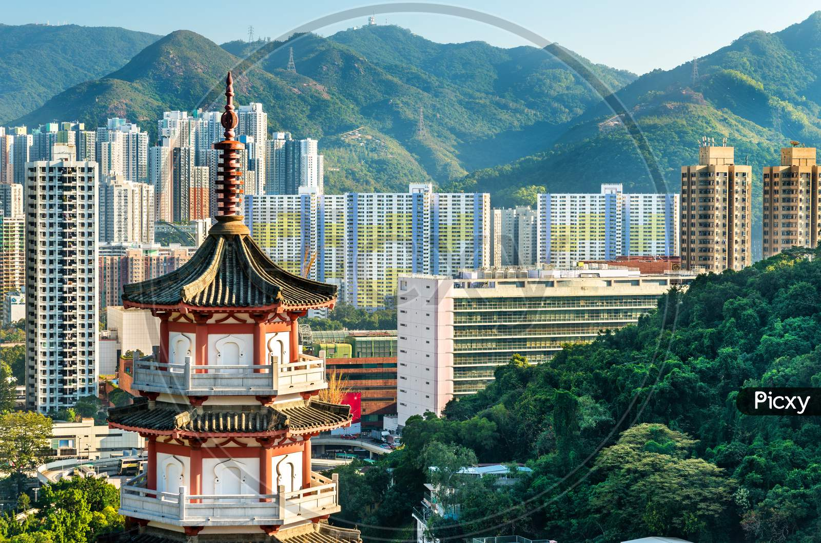 Pagoda At Po Fook Hill Columbarium And Sha Tin Skyline In Hong Kong