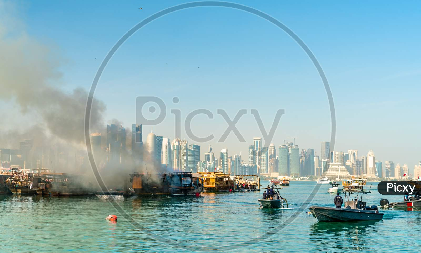 Traditional Arabic Dhow On Fire In Doha, Qatar