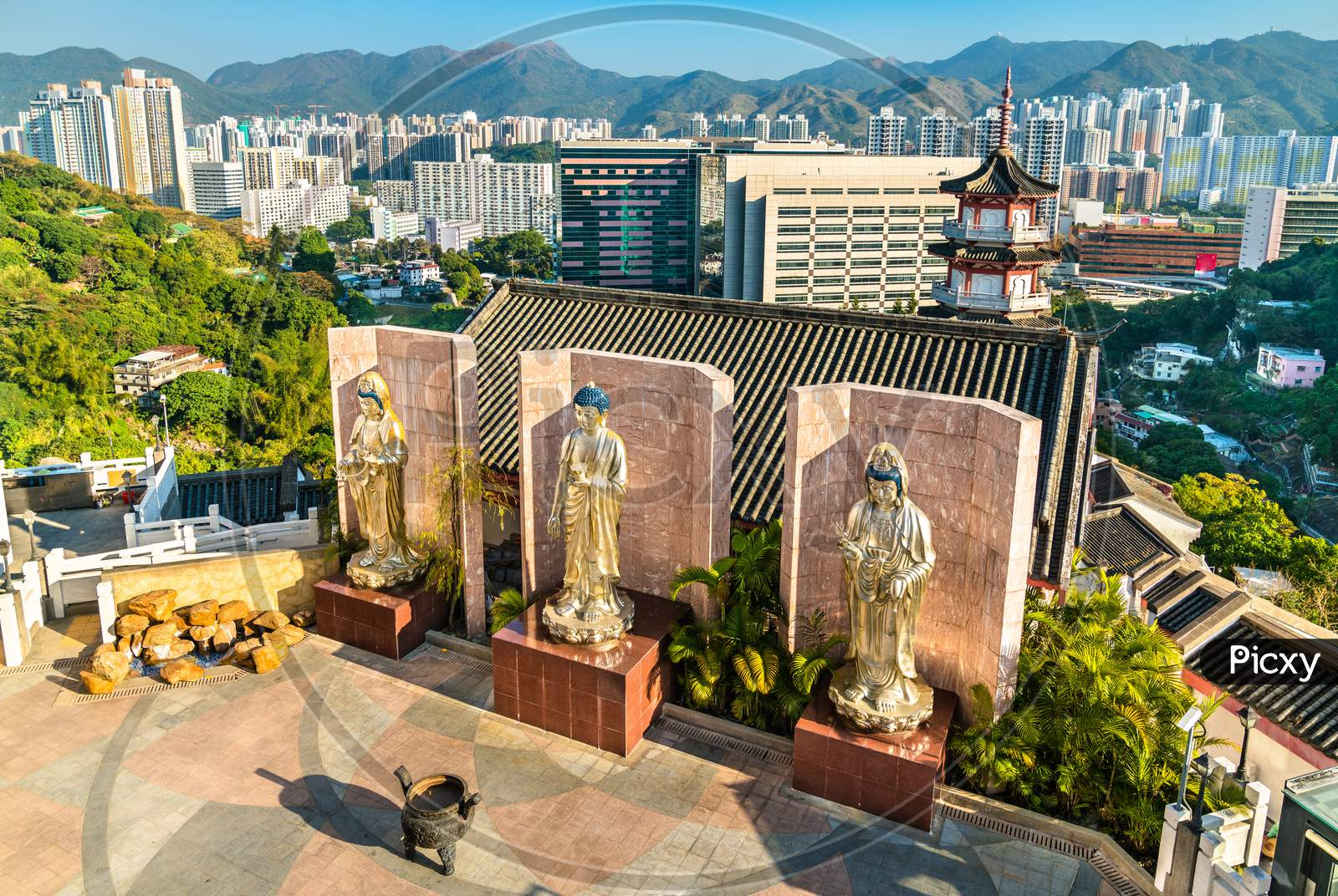 Statues At Po Fook Hill Columbarium In Hong Kong
