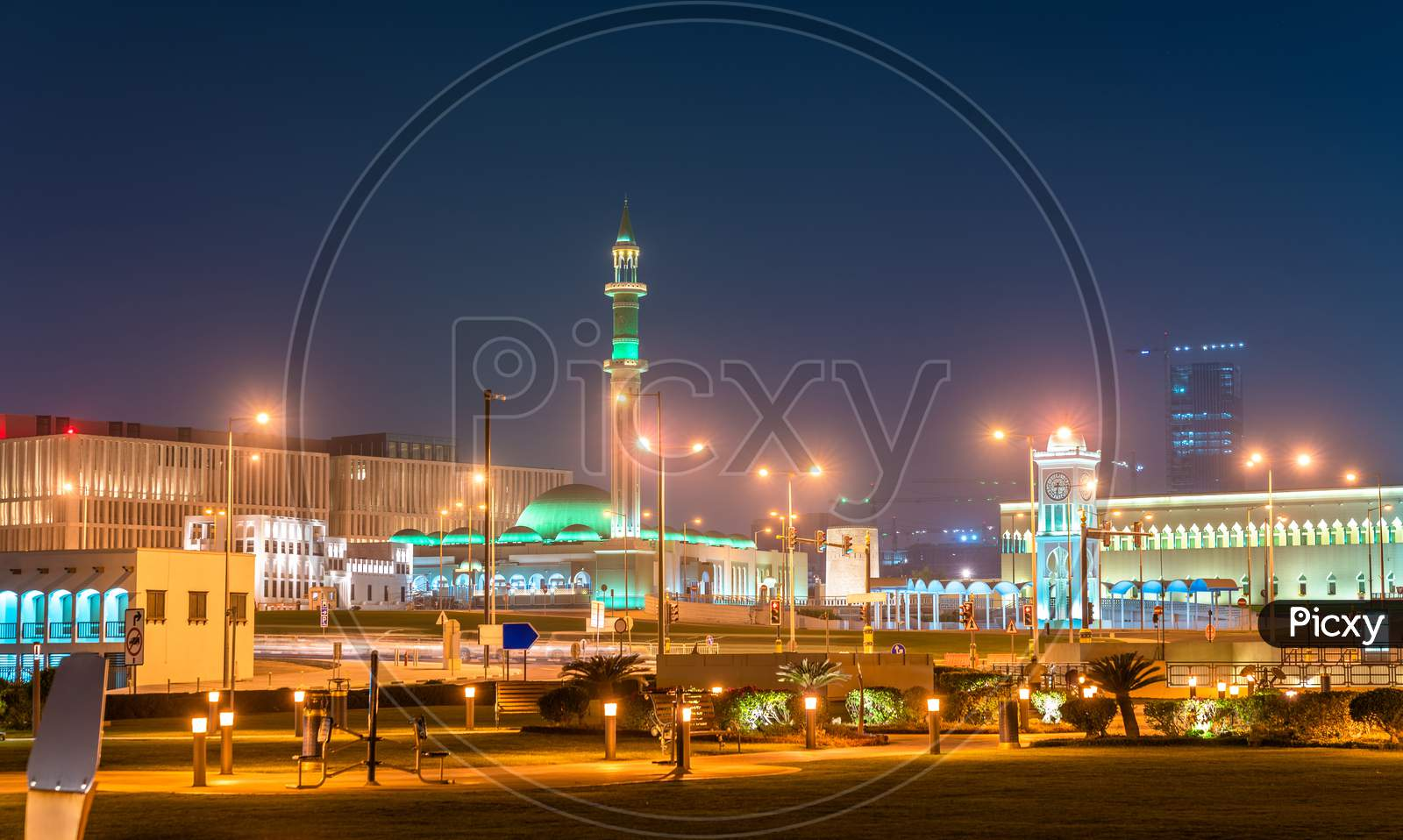 Al Shouyoukh Mosque And Clock Tower In Doha, The Capital Of Qatar.
