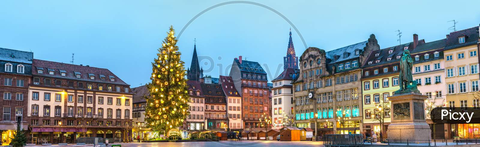 Panorama Of Place Kleber With The Christmas Market In Strasbourg, France