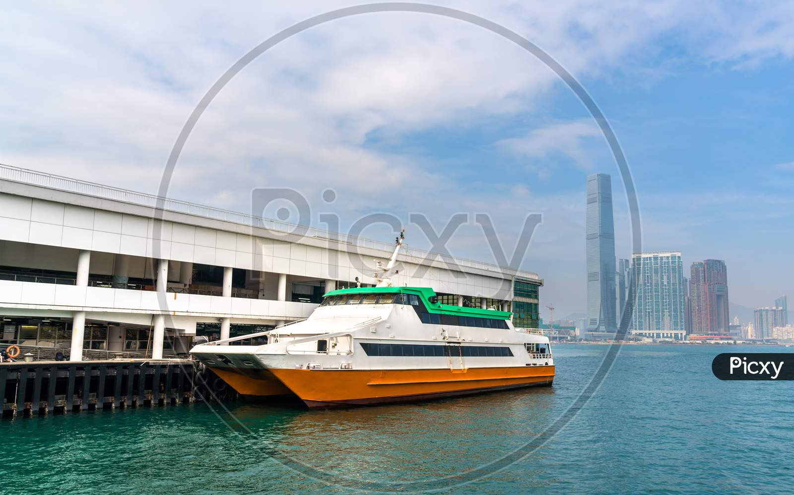 Boat At The Central Ferry Piers In Hong Kong