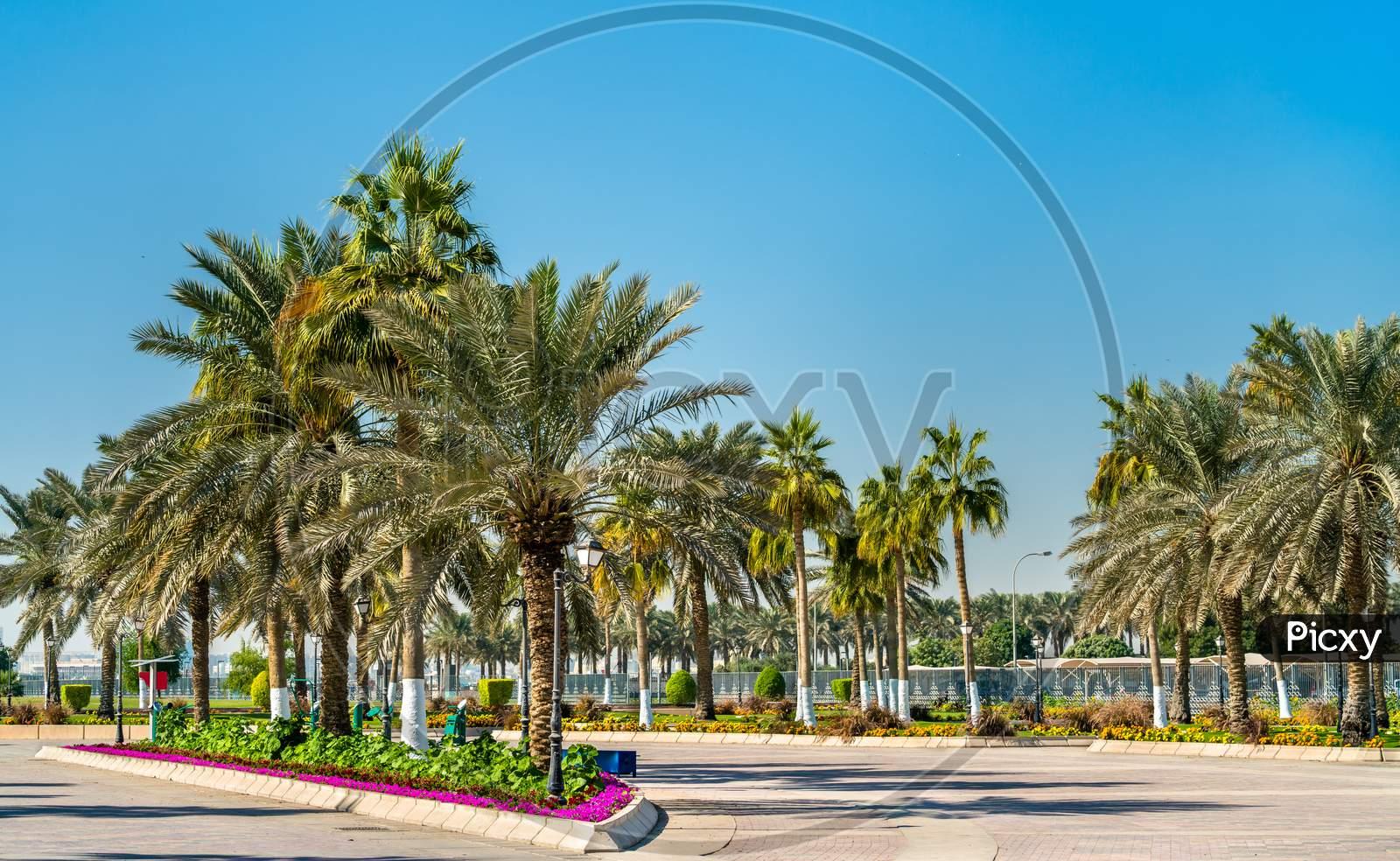 Corniche Promenade Park In Doha, Qatar