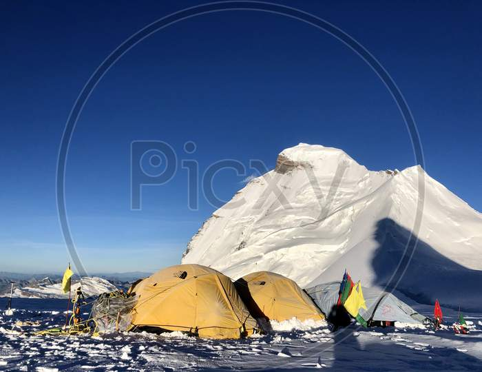High altitude camp. Mountain photography