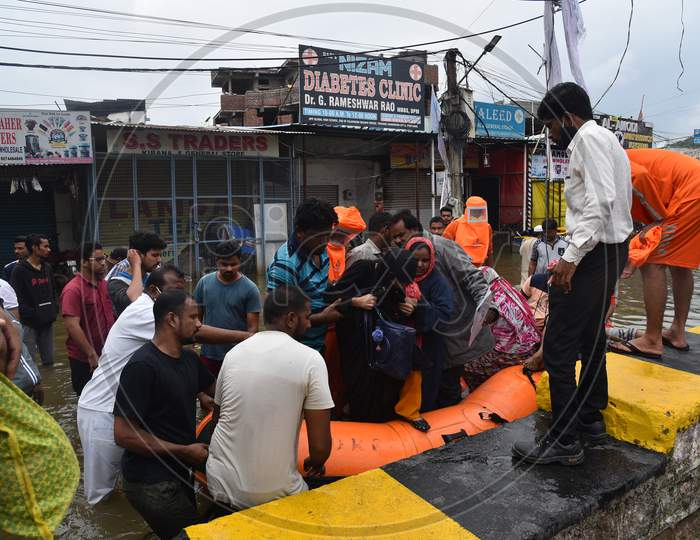 NDRF teams rescue flood affected families in Al-Jubail Colony of Falaknuma in Hyderabad on October 14, 2020.