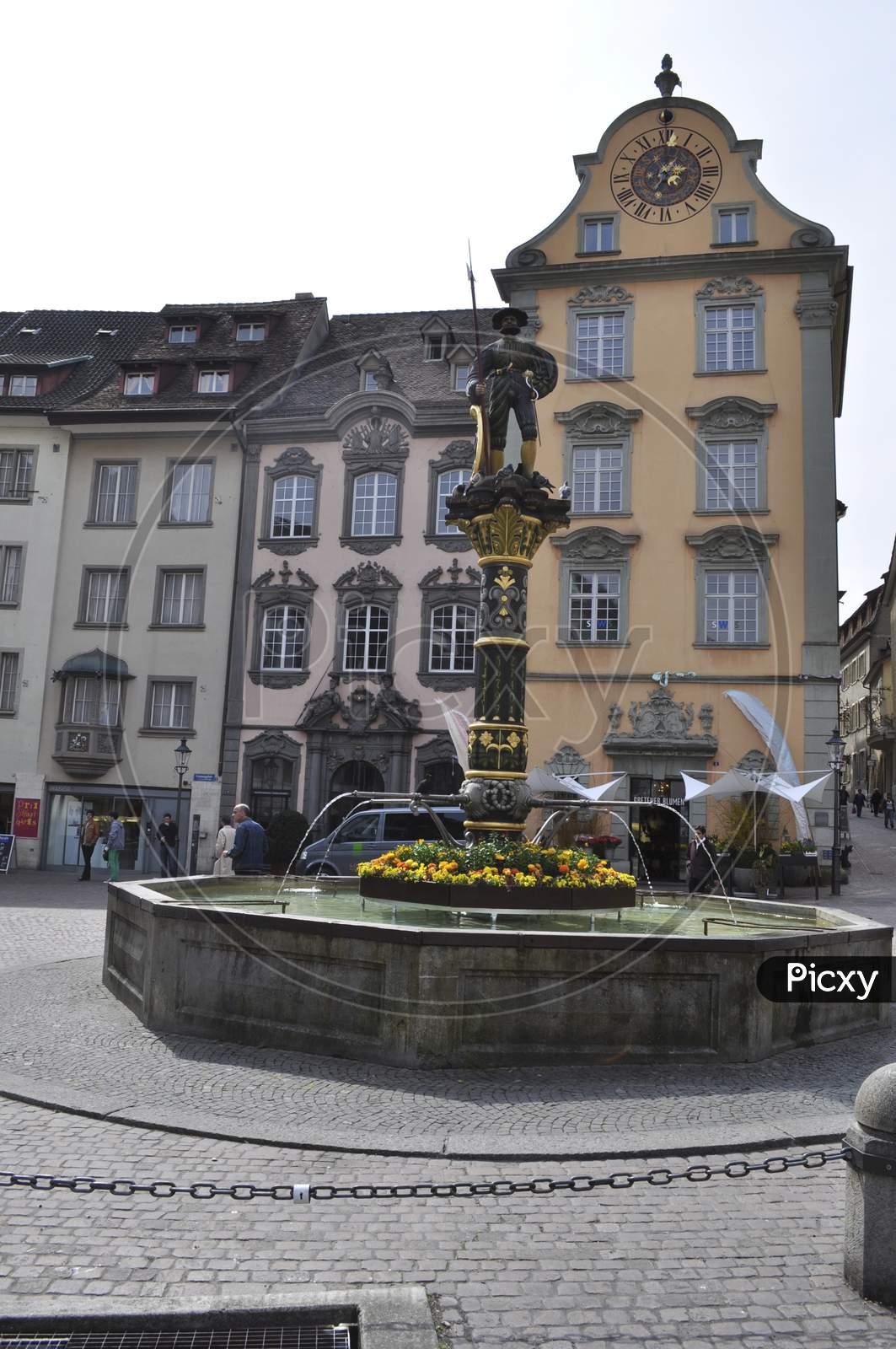 Town square, fountain