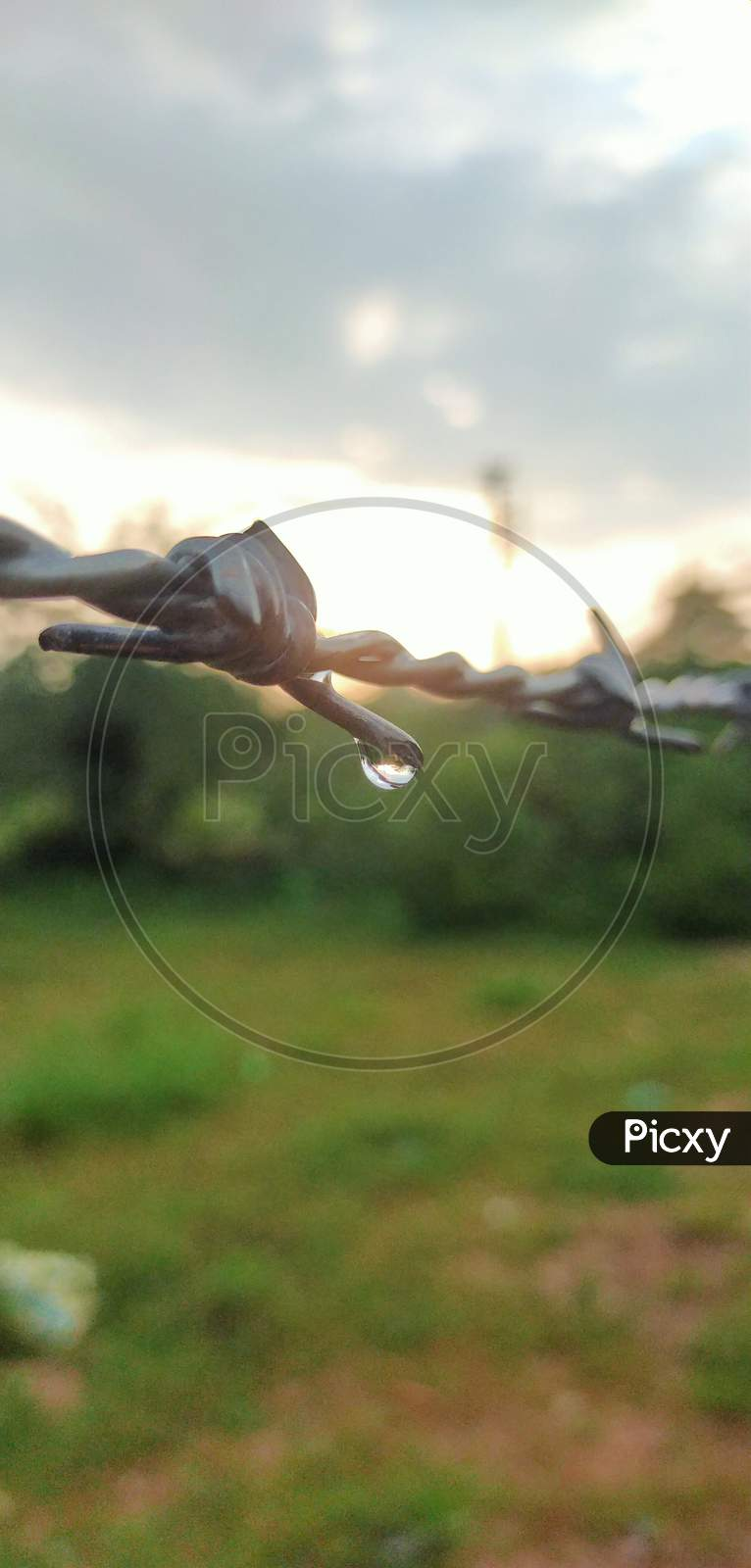 The last hanging drop of water